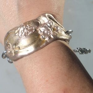 Rose Gold Antique Floral Upcycle Cuff Bracelet
